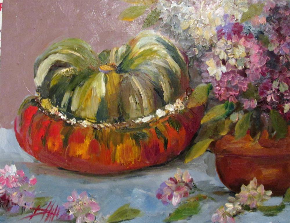 """""""Turban Squash and Hydrangea"""" original fine art by Delilah Smith"""
