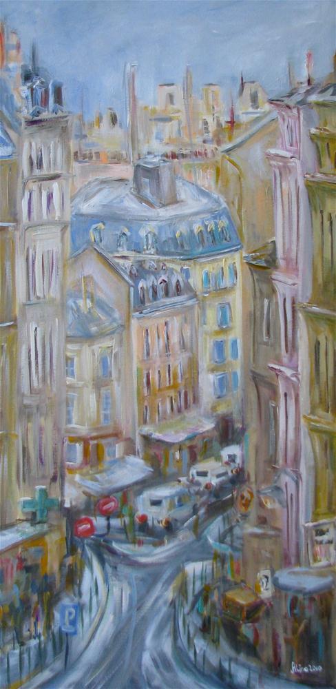 """""""Paris Street"""" original fine art by Alina Vidulescu"""