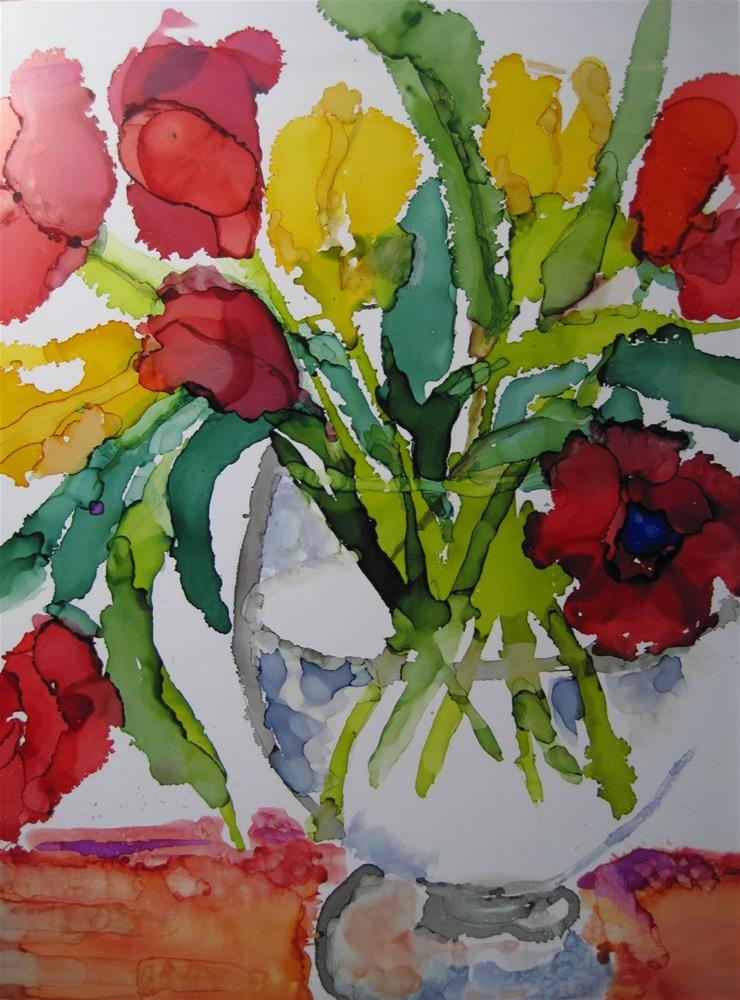 """312. Red and Yellow Tulips"" original fine art by Diane Campion"