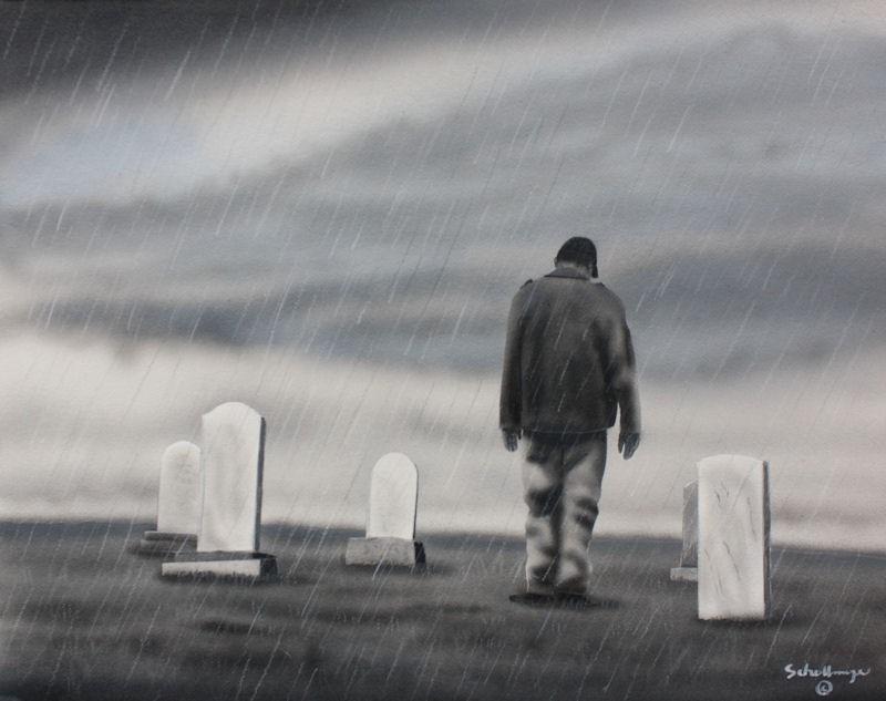 """A Hard Rain"" original fine art by Fred Schollmeyer"