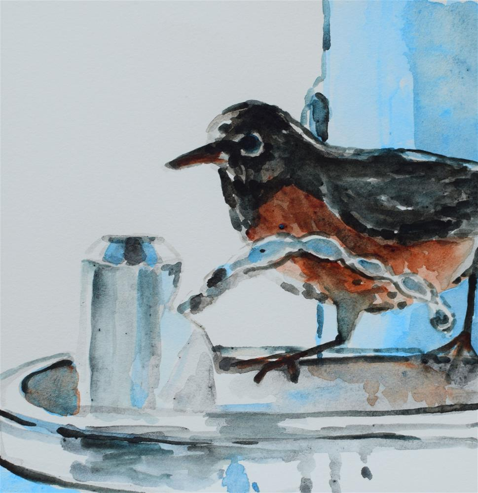 """""""Stopping By For A Quick Drink"""" original fine art by Nancy Brown"""