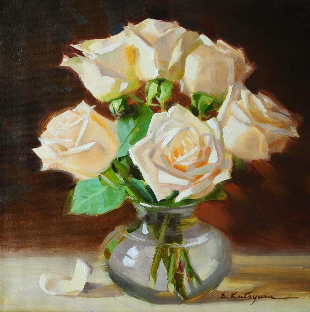 """White Roses in Vase"" original fine art by Elena Katsyura"