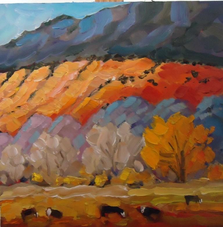 """""""127 THOSE ABIQUIU COWS"""" original fine art by Dee Sanchez"""