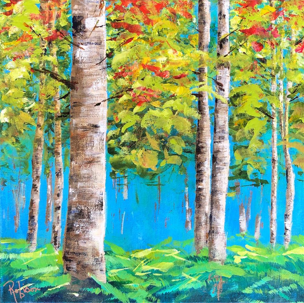 """Birch Trees in Spring"" original fine art by Renee Robison"