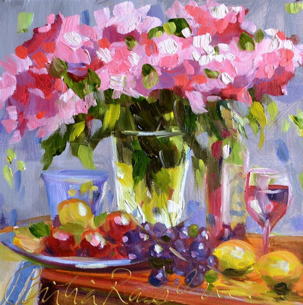 """""""Pink Roses"""" original fine art by Cecilia Rosslee"""
