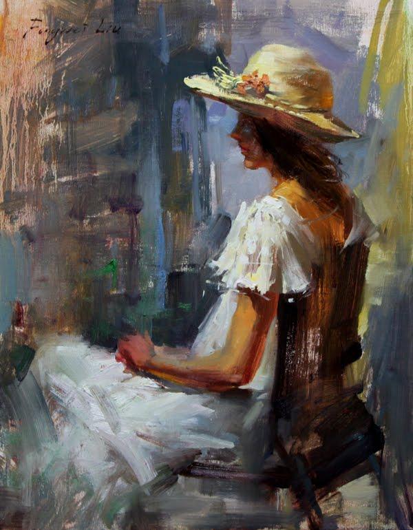 """""""Girl with hat"""" original fine art by Fongwei Liu"""