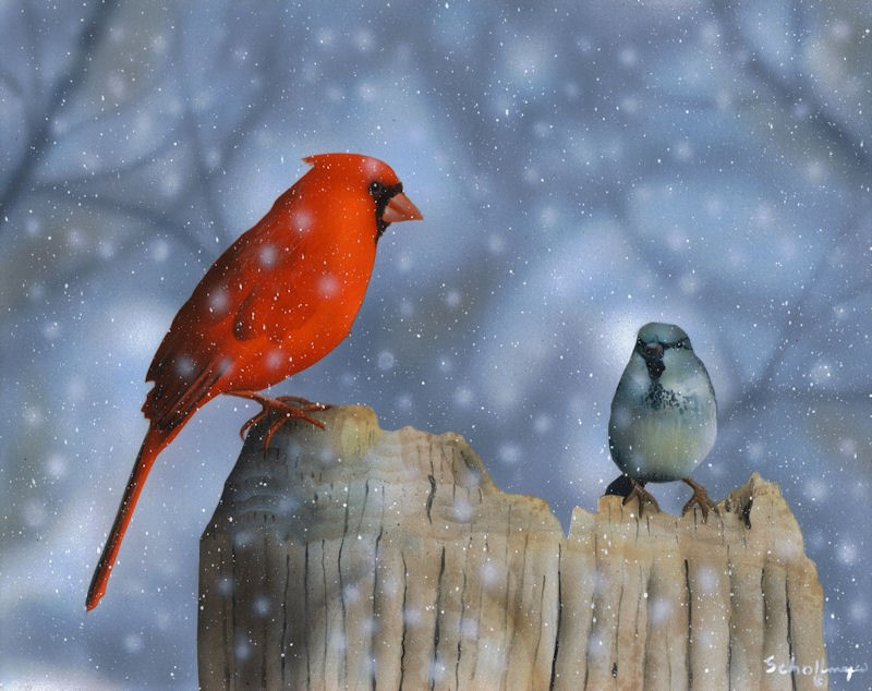 """Meeting in the Snow"" original fine art by Fred Schollmeyer"