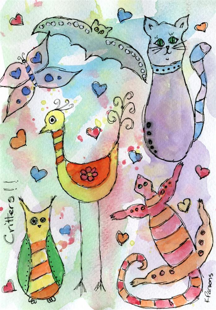 """Critter Love"" original fine art by Kali Parsons"