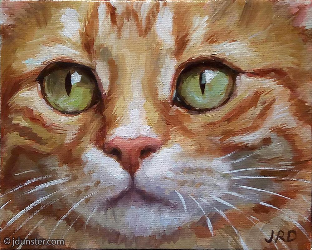"""Close-up Orange Kitten"" original fine art by J. Dunster"