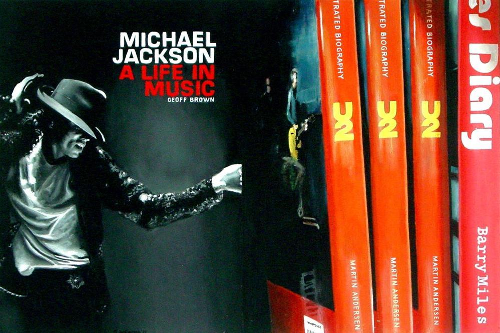"""Michael Jackson Books- painting of books on Michael Jackson and U2"" original fine art by Gerard Boersma"