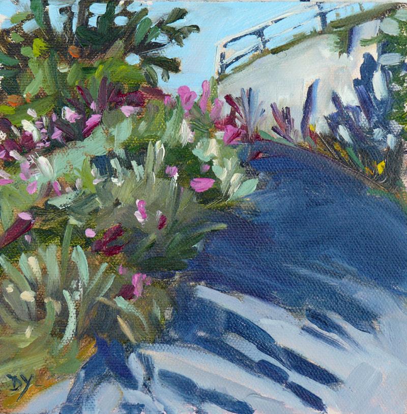 """""""Looking Up, Dallas Road Scene, Oil on board, 6x6in"""" original fine art by Darlene Young"""