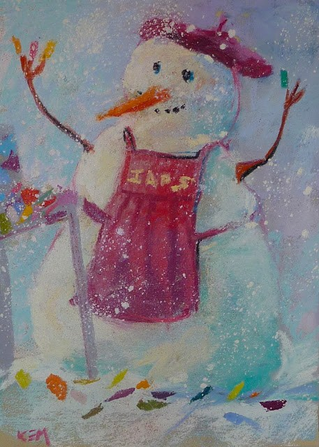 """Fun with Pastels....Painting Snowmen"" original fine art by Karen Margulis"