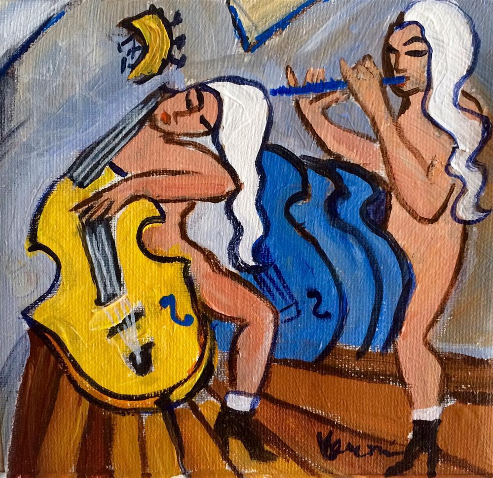 """""""Yellow Cello, Blue Flute"""" original fine art by Valerie Vescovi"""
