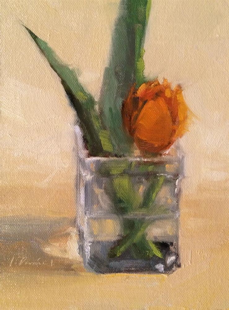 """Tulip Bud - Four of 30 in 30"" original fine art by Laurel Daniel"