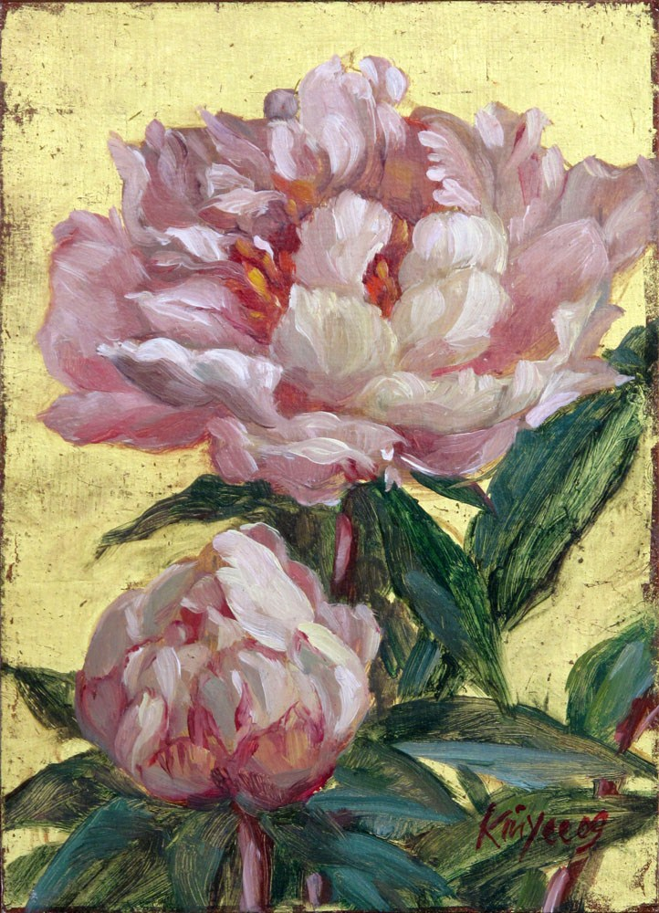 """Gilded peonies 2"" original fine art by Myriam Kin-Yee"