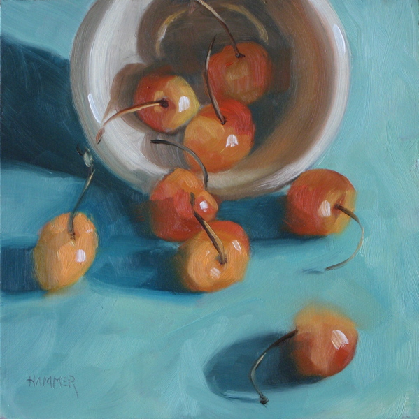 """""""Spillage 6x6  oil on panel"""" original fine art by Claudia Hammer"""