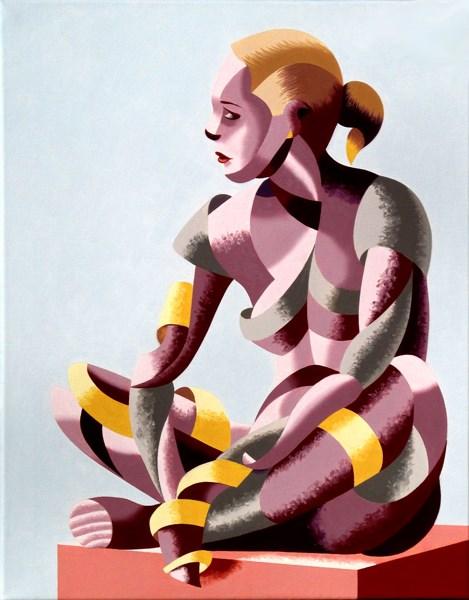 """Mark Webster - Michaela 24.03 Abstract Geometric Futurist Figurative Oil Painting"" original fine art by Mark Webster"