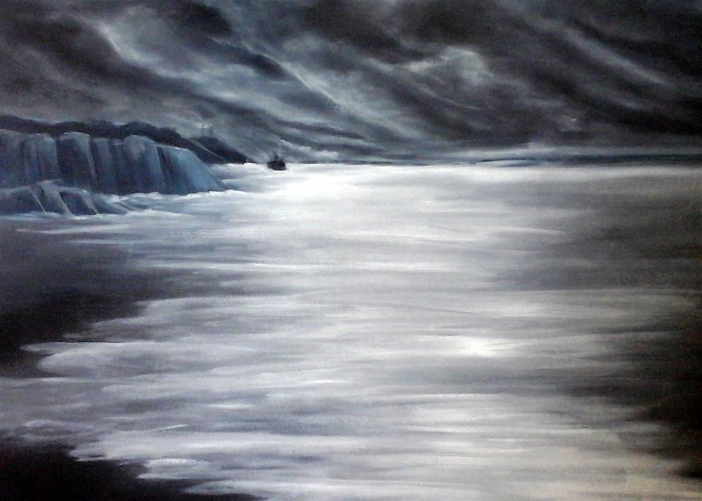 """Icy Moonlit Sea"" original fine art by Sue Lorenz"