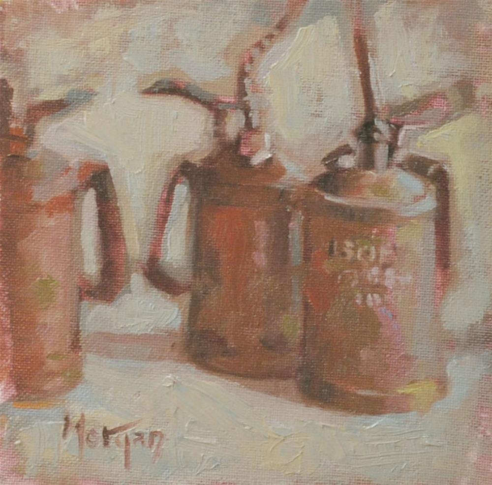 """""""Oil Cans"""" original fine art by Cecile W. Morgan"""