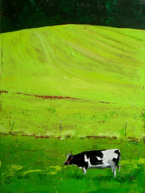 """Puzzled Cow  and  Arts in the Woods, studio tour"" original fine art by Robin Weiss"