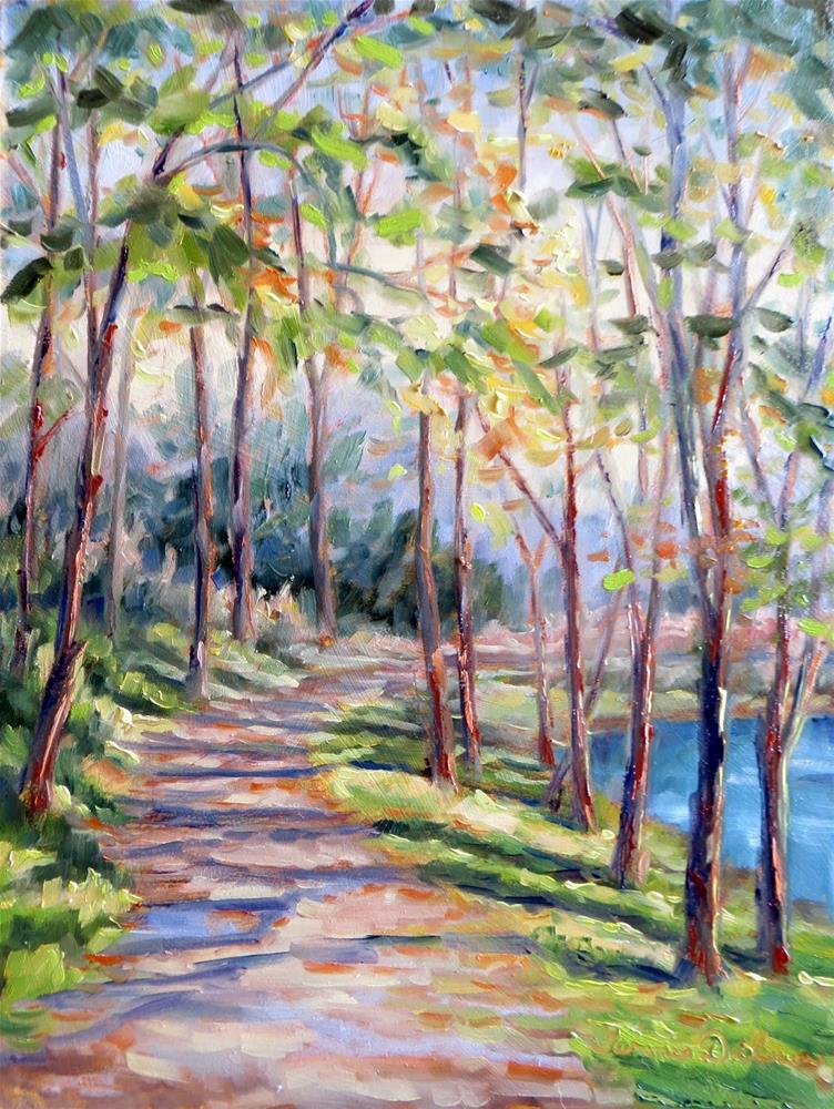 """""""Autumn Light on the Pathway"""" original fine art by Tammie Dickerson"""