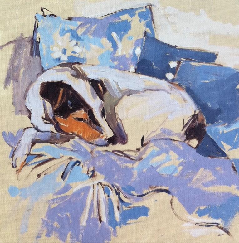"""Maisie on the sofa"" original fine art by Haidee-Jo Summers ROI"