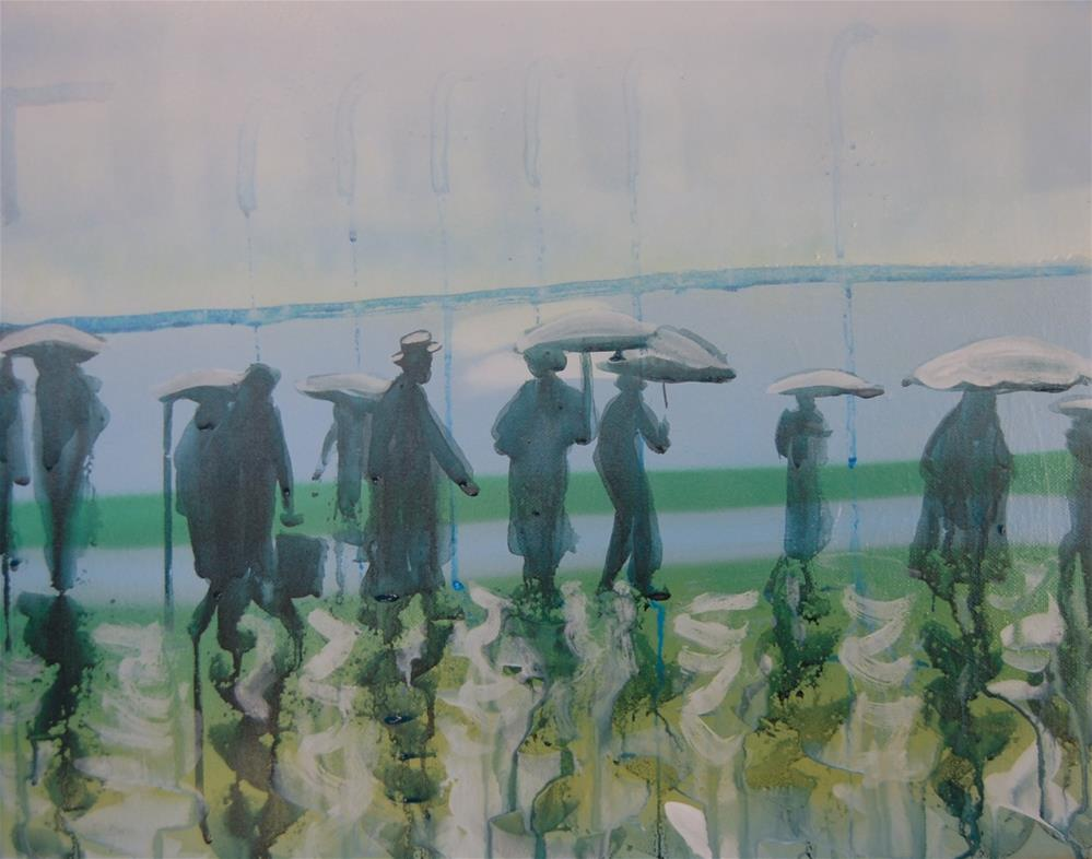 """People in the rain 9"" original fine art by michael vigneux"
