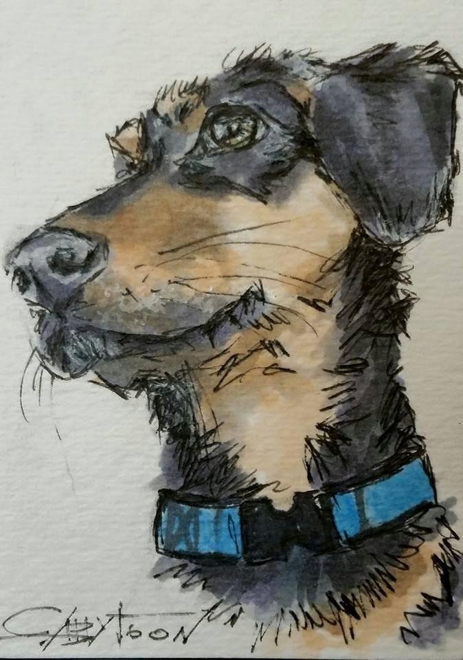"""Doggy ACEO"" original fine art by Gabriella DeLamater"