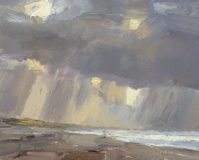 """Autumn sky and rain Seascape #21"" original fine art by Roos Schuring"