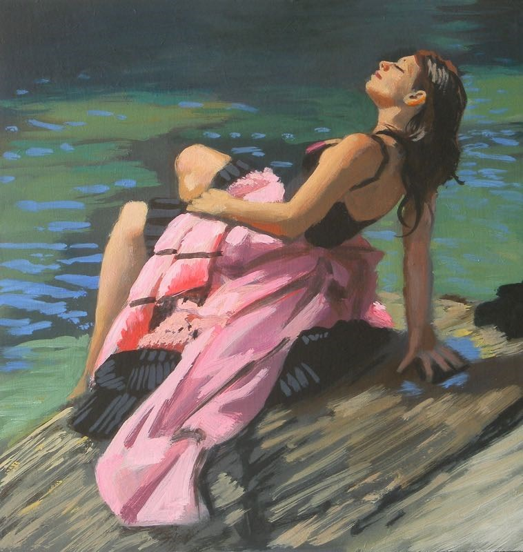 """Pink Dress"" original fine art by Peter Orrock"