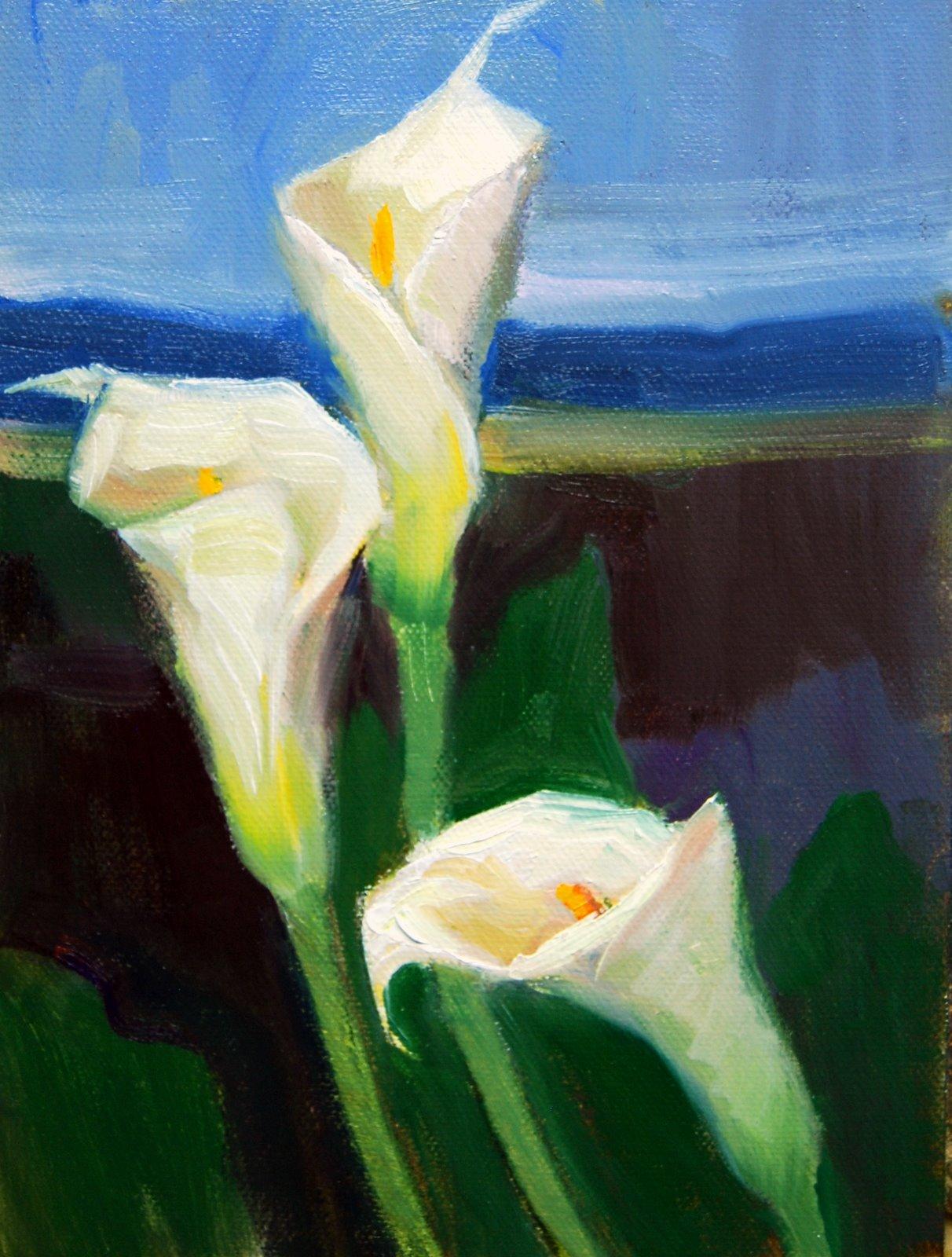 """""""Calla Landscape"""" original fine art by Julie Ford Oliver"""