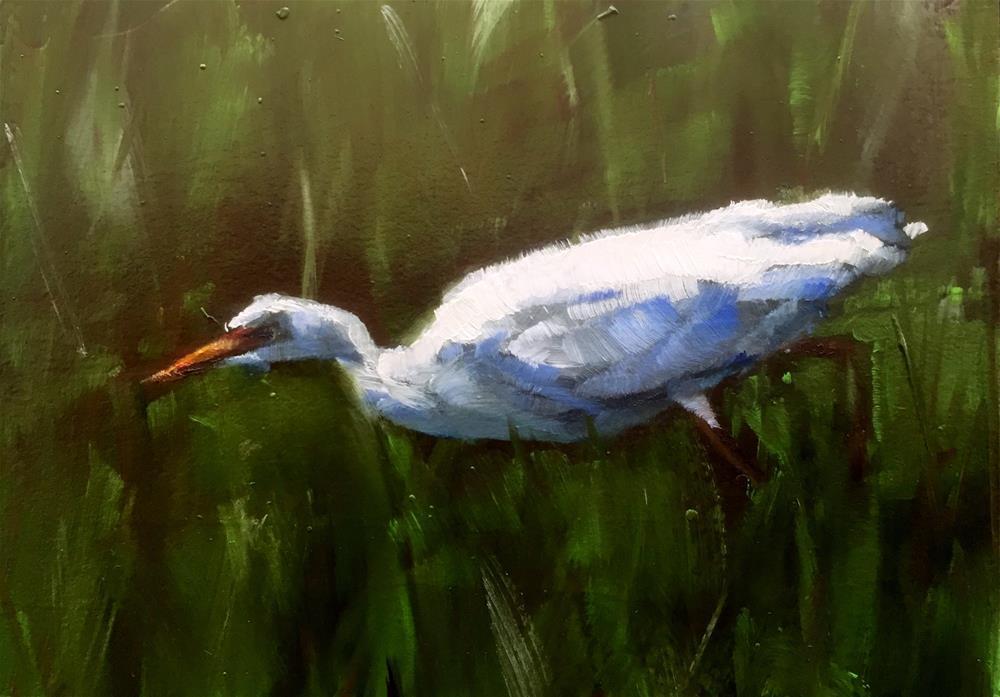 """Hunting Egret"" original fine art by Gary Bruton"