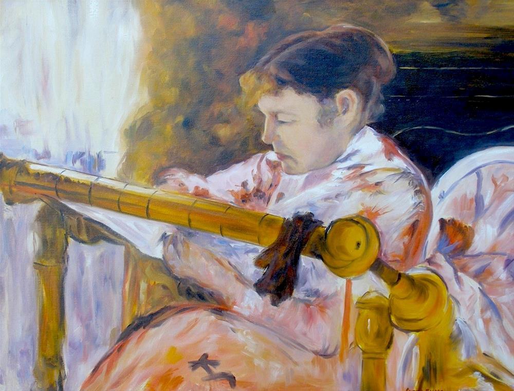 """Lydia at a Tapestry, 24x18 Oil on Canvas, after Mary Cassatt"" original fine art by Carmen Beecher"