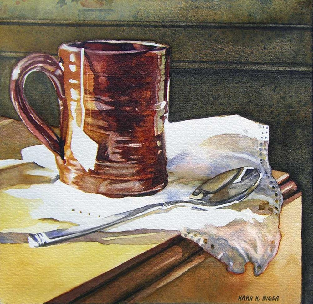 """Redware Tea"" original fine art by Kara K. Bigda"