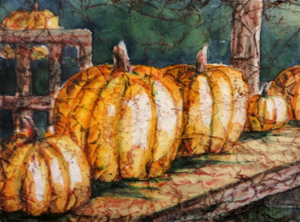 """Pumpkins on the Shelf"" original fine art by Tammie Dickerson"