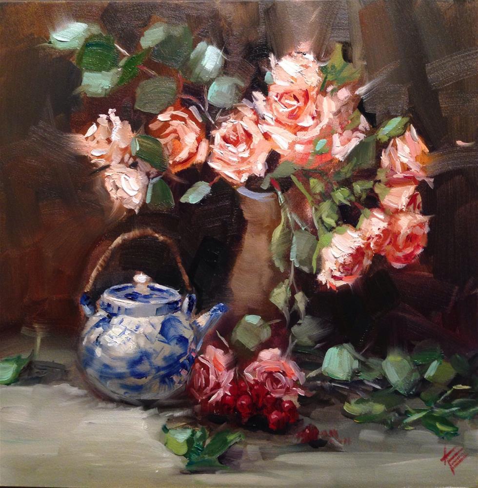 """Roses with Blue & white pot"" original fine art by Krista Eaton"