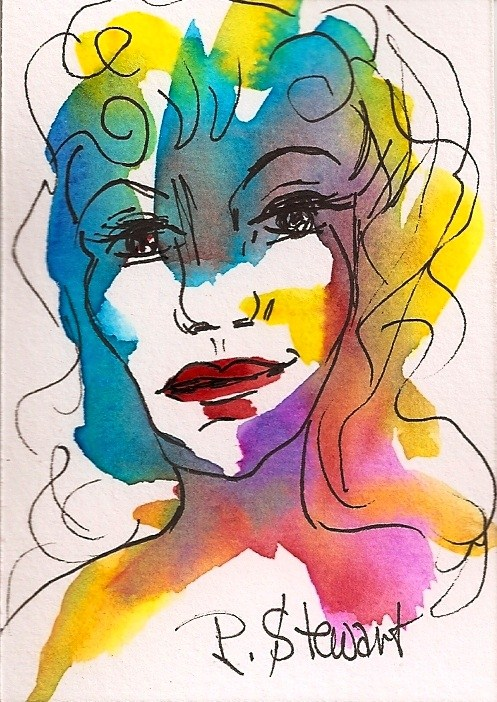"""""""ACEO, Good Bones, abstract Portrait of a Woman's face, watercolor and pen, original"""" original fine art by Penny Lee StewArt"""