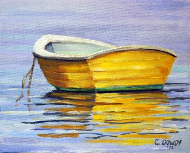 """Yellow Row Boat"" original fine art by Christina Dowdy"