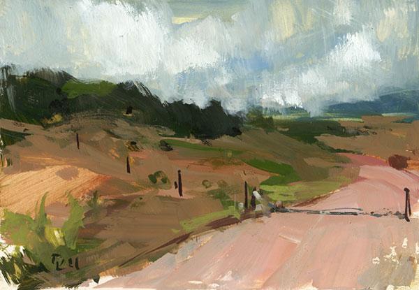 """Dirt Road with Cattle Guard"" original fine art by David Lloyd"