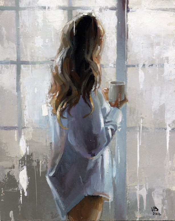"""MORNING COFFEE-8"" original fine art by Victor Bauer"