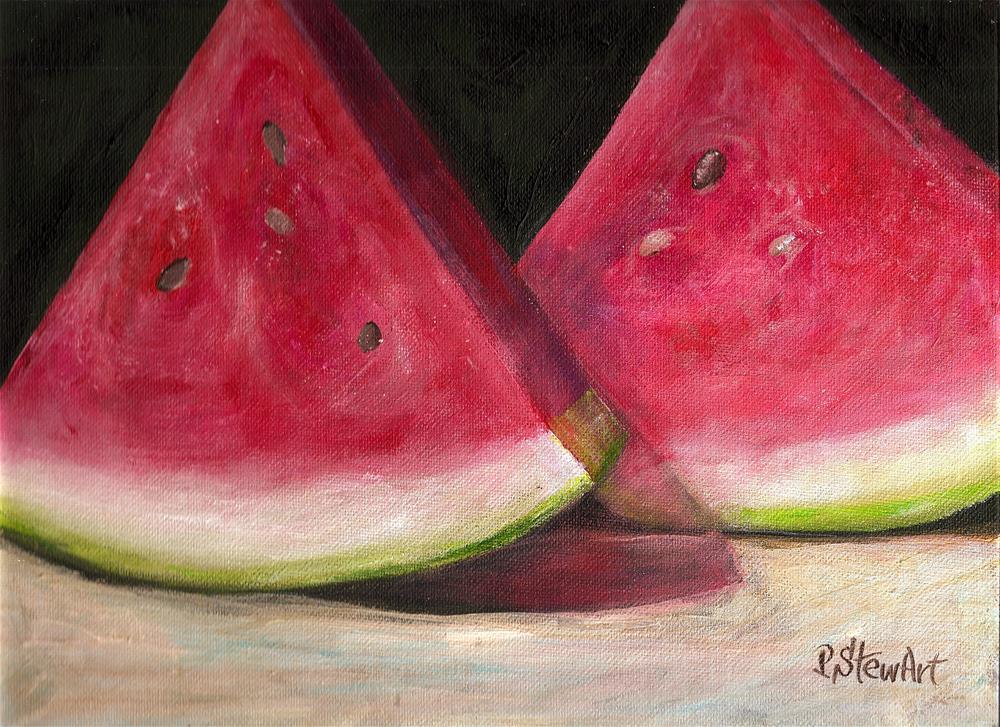 """9x12 Watermelon Acrylic on Canvas Board Original SFA by Penny StewArt"" original fine art by Penny Lee StewArt"