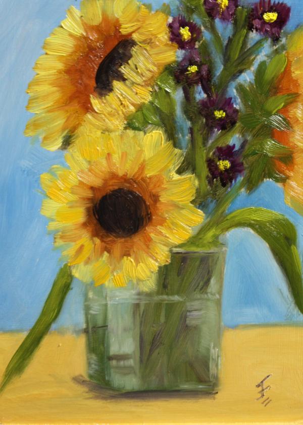 """""""Sunflower Bouquet"""" original fine art by Jane Frederick"""