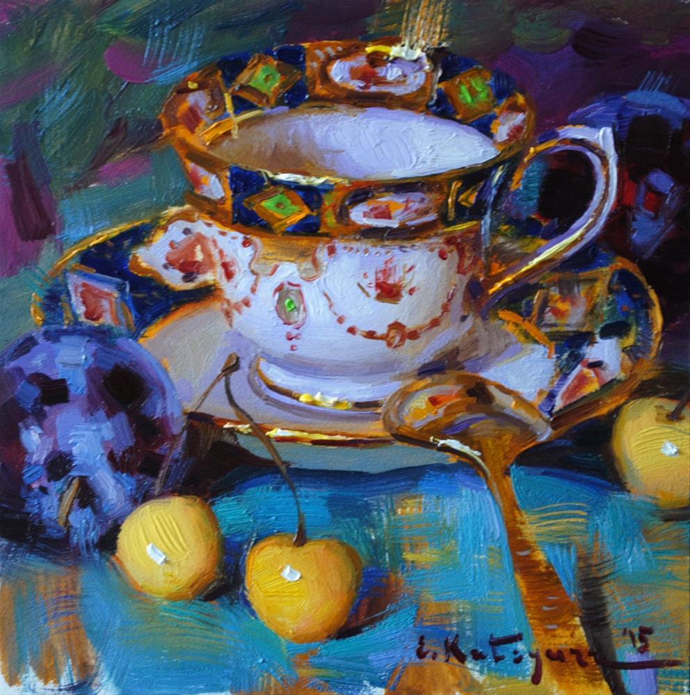 """Teacup, Plums and Yellow Cherries"" original fine art by Elena Katsyura"