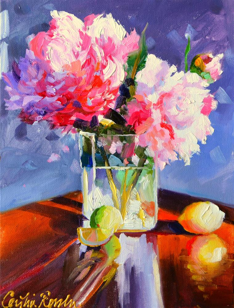 """""""TWO PEONIES"""" original fine art by Cecilia Rosslee"""