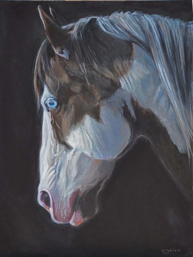 """Beautiful Blue ~ Overo paint mustang"" original fine art by Tahirih Goffic"