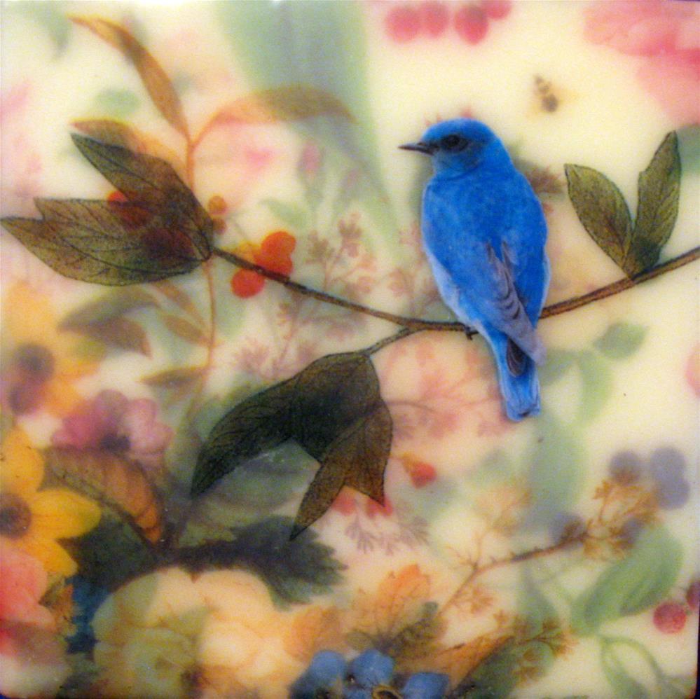 """Blue Bird in My Garden #2"" original fine art by Danielle M. Le  Bris"