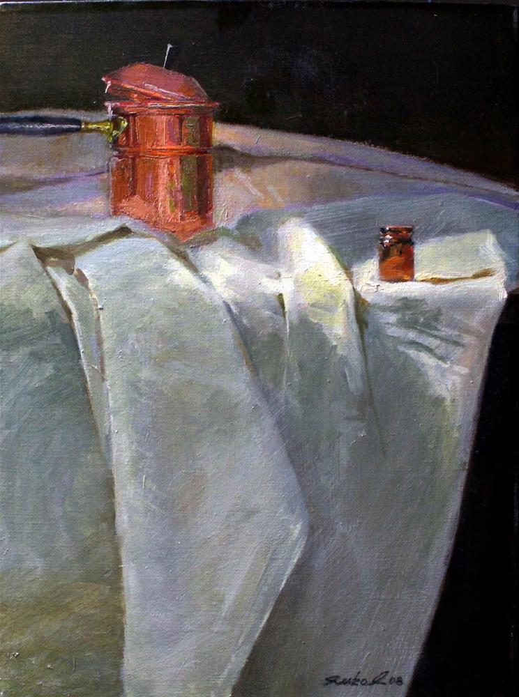 """Copper $ Brown Bottle"" original fine art by Ron Ferkol"