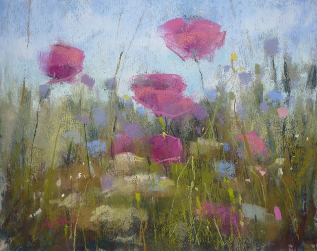 """Painting an Impression of Poppies"" original fine art by Karen Margulis"