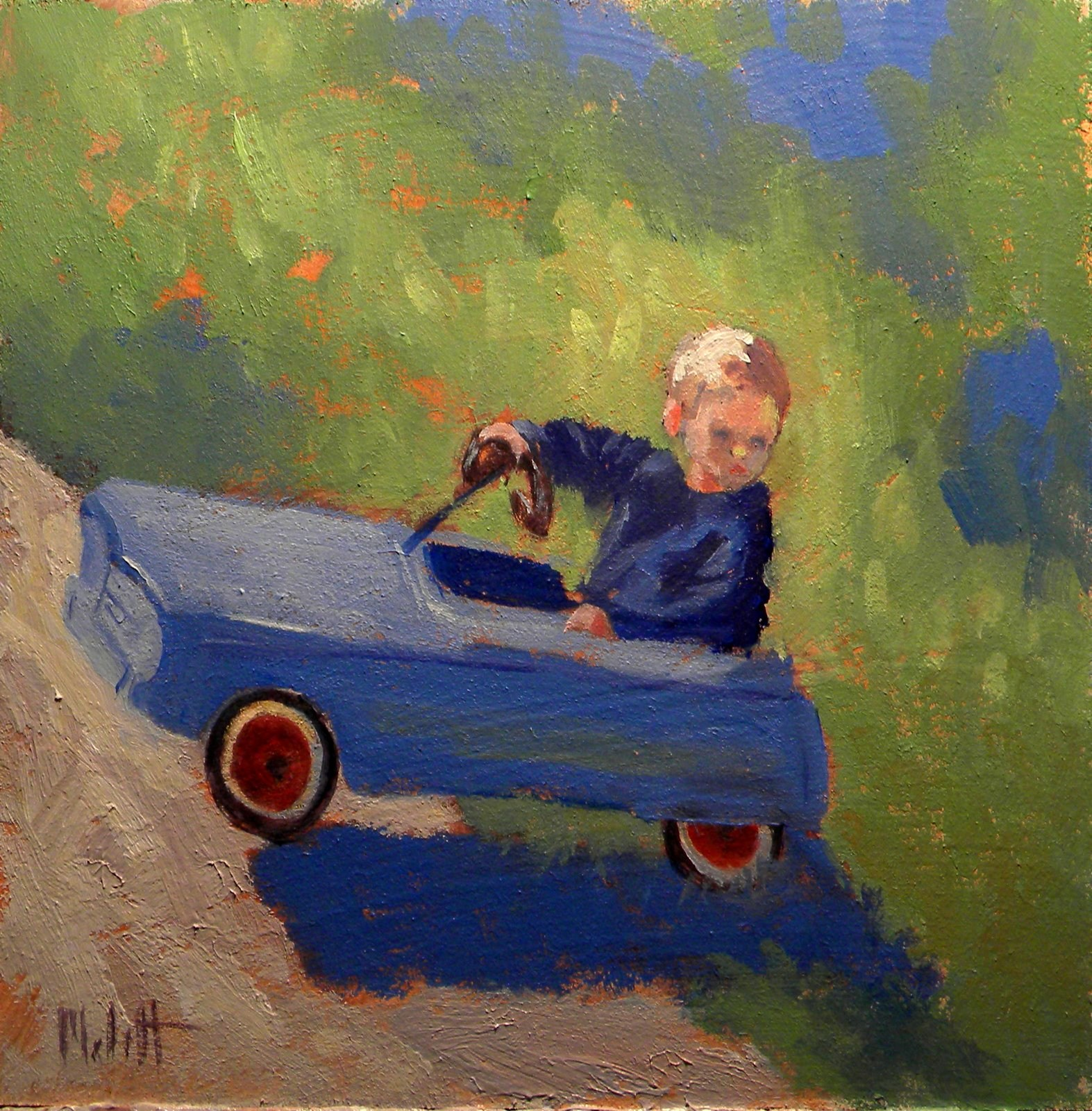 """Antique Toy Car Child Contemporary Impressionist Painting"" original fine art by Heidi Malott"