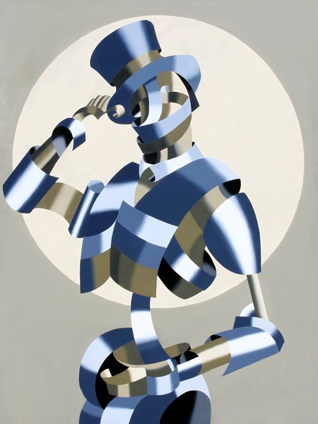 """Mark Webster - Abstract Geometric Grayscale Circus Ringleader Oil Painting"" original fine art by Mark Webster"